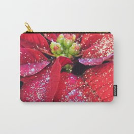 Christmas Holiday Red Poinsettias With Silver Hanukkah Sparkles Carry-All Pouch