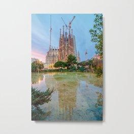 Reflection in Sagrada Familia Metal Print