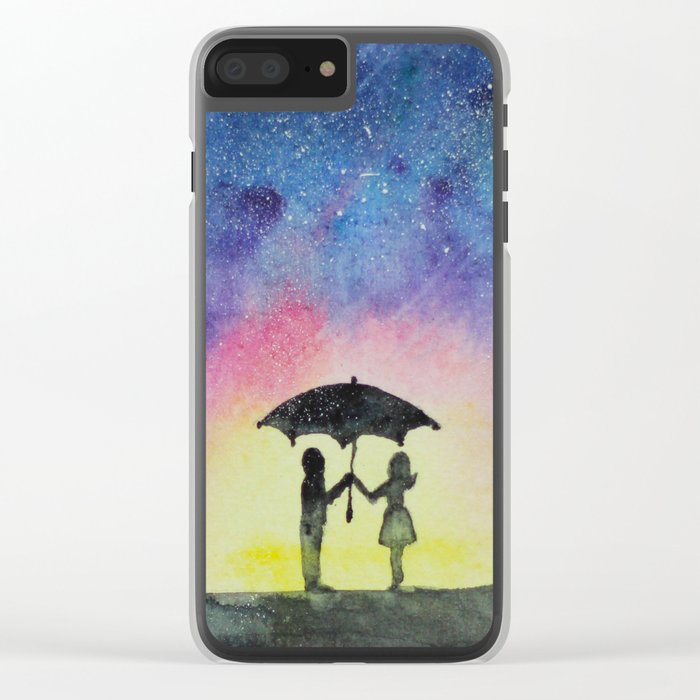 Star rain || watercolor Clear iPhone Case