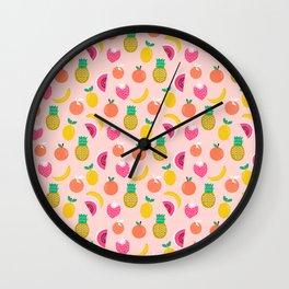 Fruit summer spring pattern print tropical island pineapple cherry strawberry banana fresh hot  Wall Clock