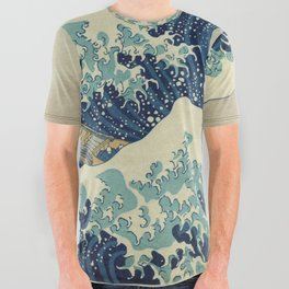 The Classic Japanese Great Wave off Kanagawa Print by Hokusai All Over Graphic Tee