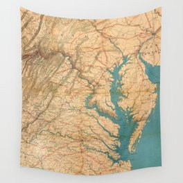 Vintage Map of Virginia and The Chesapeake Bay (1862) Wall Tapestry