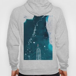 Small boat in an incredibly blue Ocean with Icebergs – Aerial Photography Hoody