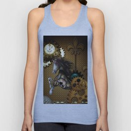 Steampunk, awesome steampunk horse Unisex Tank Top
