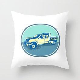 Tipper Pick-up Truck Oval Woodcut Throw Pillow