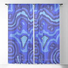 Authentic Aboriginal Art - Blue Campsites Sheer Curtain