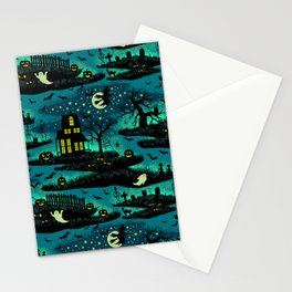 Halloween Night - Fox Fire Green Stationery Cards
