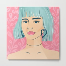 Beautiful girl with teal bob hair, standing against the botanical pink pattern Metal Print