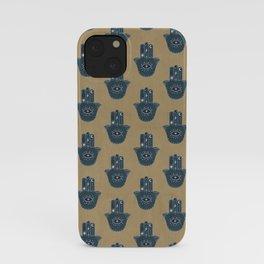Hamsa Hand Cool Boho Pattern Blue and Tan iPhone Case