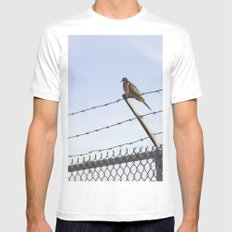 Bird On A Wire Mens Fitted Tee MEDIUM White