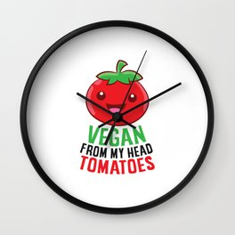 Vegan Gift Vegan From My Head Tomatoes Vegetarian Wall Clock