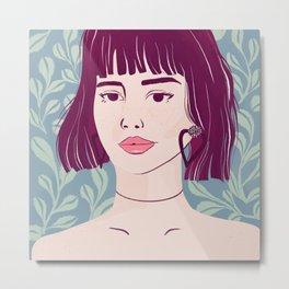 Purple Bob Messy Hair - Botanical Texture - Kissable Lips - Bare Shoulders Metal Print