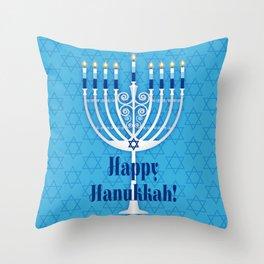 Happy Hanukkah Lit Menorah Throw Pillow