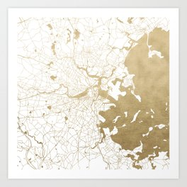 Boston White and Gold Map Art Print