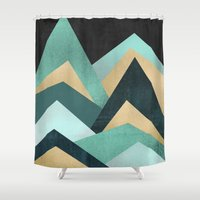 waves Shower Curtains featuring Waves by Elisabeth Fredriksson