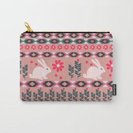 Ethnic decor with little bunnies Carry-All Pouch