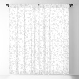 Block Print Silver-Gray and White Stars Pattern Blackout Curtain