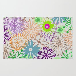 Drawn Flowers Rug