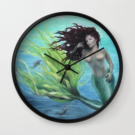 Calypso Nude Mermaid Underwater Wall Clock