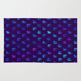 Blue strokes on dark Rug
