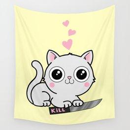 Kitty Hearts Kill - Cats Love Plotting Wall Tapestry