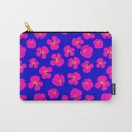 Pink geraniums on blue  Carry-All Pouch