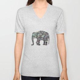 Sparkly colourful silver mosaic Elephant Unisex V-Neck