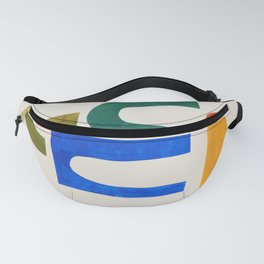 'School Playground' Paper Collage by Ejaaz Haniff Fun Colorful Mid Century Modern Minimal Shapes Pattern Fanny Pack