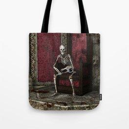 Gothic Waiting Skeleton Tote Bag