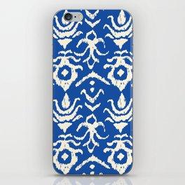 Blue Ikat Damask Print iPhone Skin