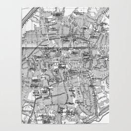Vintage Map of Bruges (1905) BW Poster