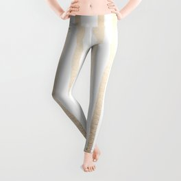 Simply Drawn Vertical Stripes in White Gold Sands Leggings