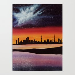 Abu Dhabi, watercolor Poster