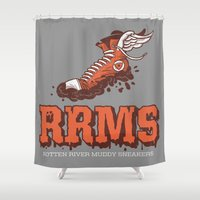 sneakers Shower Curtains featuring Muddy Sneakers by Gimetzco's Damaged Goods