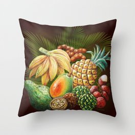 Exotic Fruits Still Life Color Pencils Art Throw Pillow