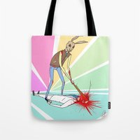 hotline miami Tote Bags featuring Hotline Miami: Graham by Paul Scott (Dracula is Still a Threat)