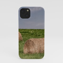 Hay bales on a hillside iPhone Case