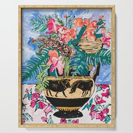 Tropical Banksia Bouquet after Matisse in Greek Boar Urn on Pale Painterly Blue Serving Tray