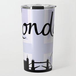 London Script on Union Jack Sky & Sites Purple Travel Mug