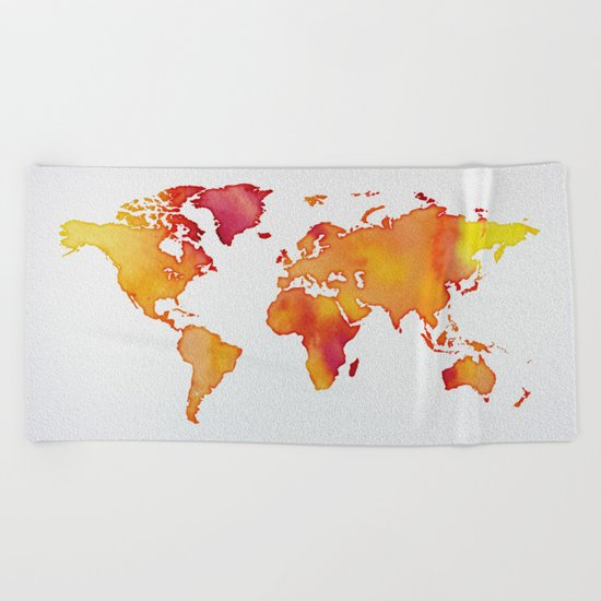 Orange World Map Beach Towel