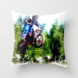 """Dare to Fly"" Motocross Racer Throw Pillow"