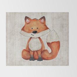 Little Fox, Baby Fox, Baby Animals, Forest Critters, Woodland Animals, Nursery Art Throw Blanket