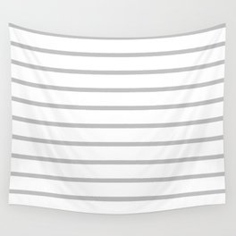 Horizontal Lines (Silver/White) Wall Tapestry