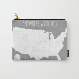 Anywhere With You USA Map in Grey Carry-All Pouch