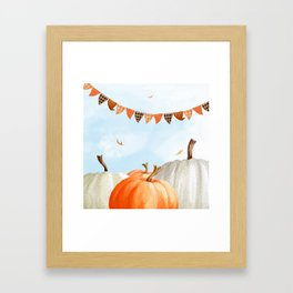 Breezy Day At The Pumpkin Patch Framed Art Print