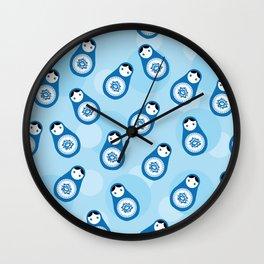 matrioshka doll - blue parttern Wall Clock