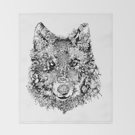 floral animals -black and white wolf Throw Blanket