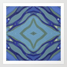 Blue Wave Nautical Medallion Art Print
