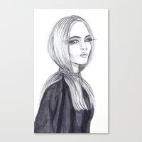cara delevingne Canvas Prints featuring Cara Delevingne by Asquared2Art
