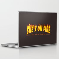 scarface Laptop & iPad Skins featuring Scarface She's on Fire  by D-fens